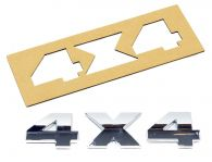 "Chrome ""4X4"" Lettering kit with template - 3 self adhesive letters"