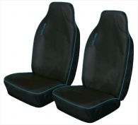 Cosmos Light Heavy Duty Black with Blue Trim Front Seat Covers
