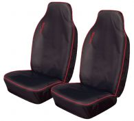 Cosmos Light Heavy Duty Black with Red Trim Front Seat Covers