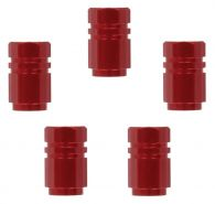 Set of 5 Red Aluminium Tyre Valve Caps