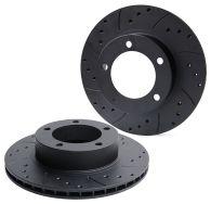Drilled & Grooved Black Front Brake Discs