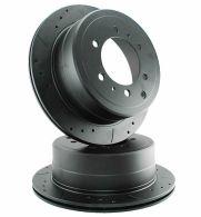 Drilled & Grooved Black Rear Brake Discs