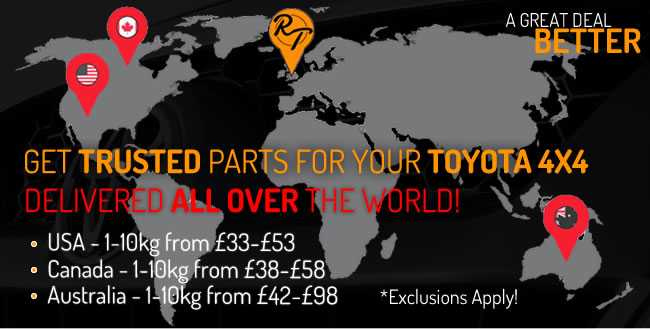 Get trusted Toyota 4x4 parts delivered all over the world!