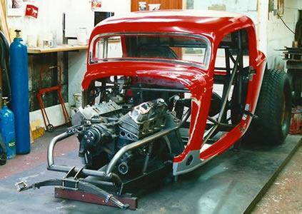 Red 1934 Ford Coupe Hot Rod Dragster, 8 Litre Nitro Powered!